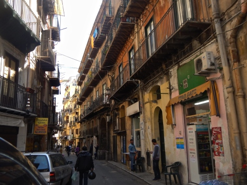 Busy street in Palermo Sicily