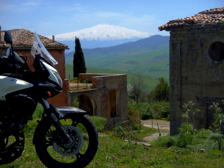 Old abandoned religious town in central Sicily with the stunning Mt Etna in the background