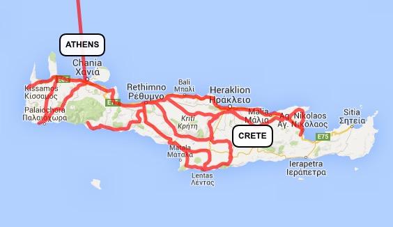 Map of Crete rides