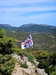 Th flag of Sardenia high in the mountains