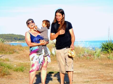 Jo sharing the love on Tarragona beach