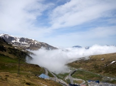 Looking back toward French side of Andorra and the fog