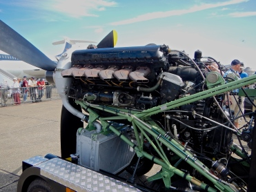 A close look at a Rolls-Royce Merlin V12 with giant supercharger bolted to the rear