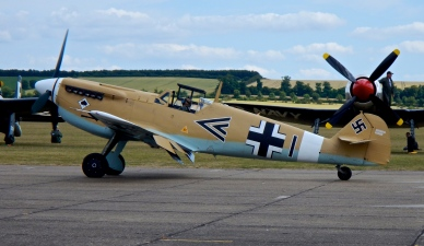 Hispano HA-112 Buchan. Basically a Messerschmitt Bf109 with a Rolls-Royce Merlin engine built in Spain for their own airforce in 1950. Now painted in German colours