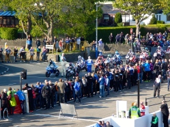 TT race starting - riders start at 10 second intervals - Isle of Man