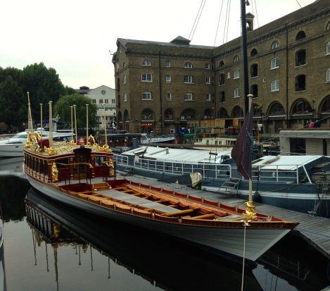 The Queen's 60th anniversary boat in dock near Tower Bridge
