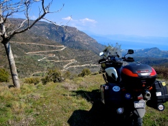 Vstrom looking at it's next challenge, mountains inland from Greece's Patra