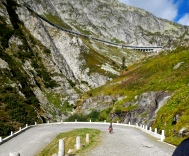 Looking up towards one of many mountain side tunnels, they are great to ride through