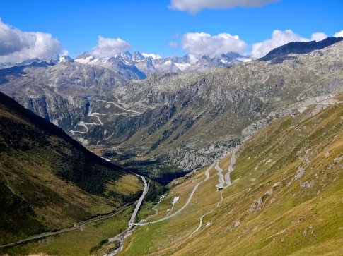 Looking down Furka Pass with Grimsel in back the ground