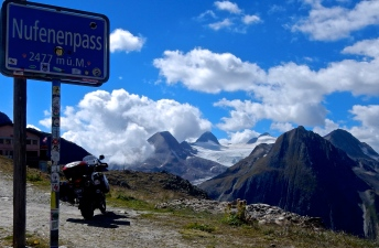 Another high Swiss Alps pass overlooking one of many glaciers