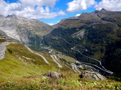 All roads lead to the small Swiss village of Gletsch right down there..
