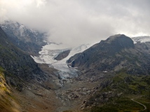 Small roads not far from glaciers in Swiss Alps