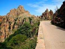 Corsica's West Coast, roads winding through unique rock structures