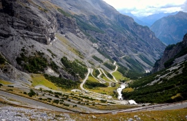 The Bormio side of Stelvio Pass with over 40 tyre wearing, brake destroying hairpins to enjoy..