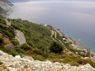 Roads winding down to small seaside villages on Corsica's coast
