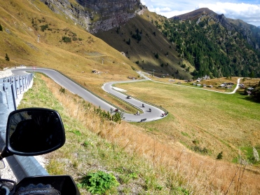 Riding the Dolomite Mountains, traffic never got much worse than this