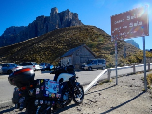 Another high pass on a beautiful day in the Dolomite Mountains