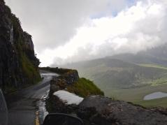 Single lane road over the Dingle Peninsula mountains
