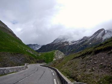 Pyrenees mountain road on French side just after border crossing from Spain