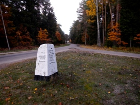 Sign post in the middle of a Polish Forest