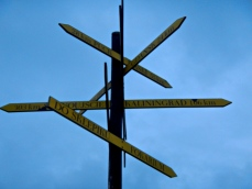 Sign post at Hel on Polands Baltic Coast