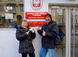 Outside the 'Foreigner's Office' with our Polish Residents cards