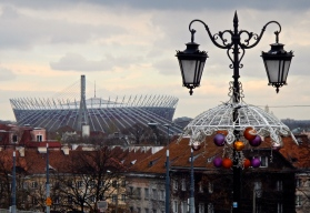 Christmas decorations with Warsaw Stadium in the background