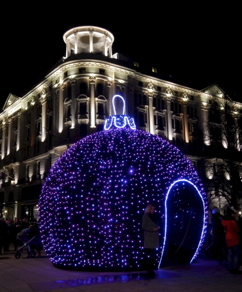 One of Warsaw's better Hotels, The Bristol looking splended behind the colourful Christmas ball..