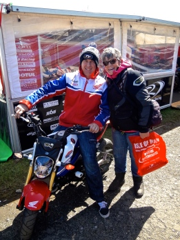 Champion and eventual 2015 Senior TT winner John McGuinness getting a few pre-race tips from Jo...