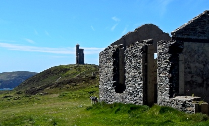 Old cottage on Bradda Head, mining was carried out here in the Bronze Age.