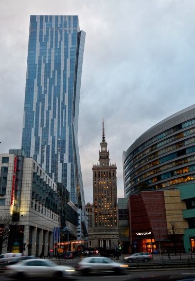 Sky scrapers and the Russian building in the middle