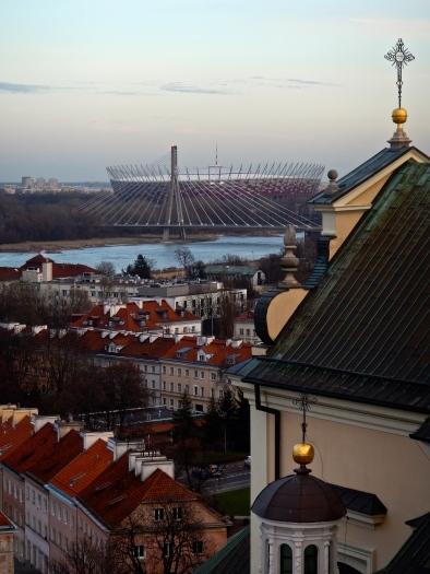 Looking across Vistula River to National Staium