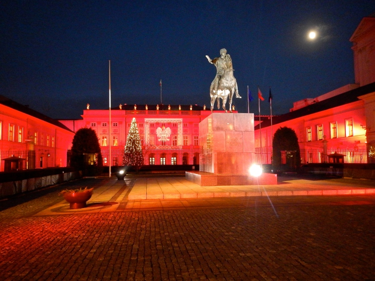 Presidents residence - lit in red for Christmas
