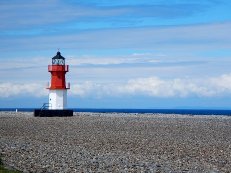 Light House on the beach at northern end of the island, you can see the Mull of Kintyre on Scottish coast on a clear day