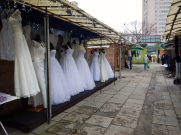 Wedding dresses for sale at the market