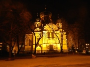 St Mary Magdalene's Russian Orthodox church at night