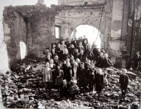 School children in the ruins