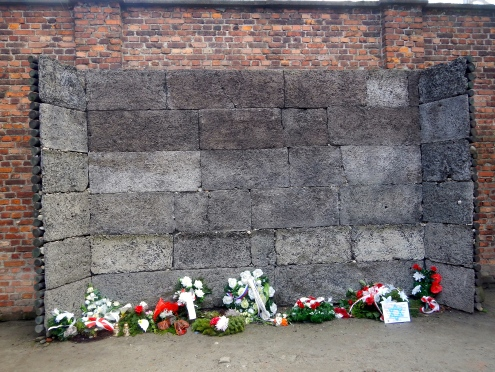 Flowers left at the killing wall