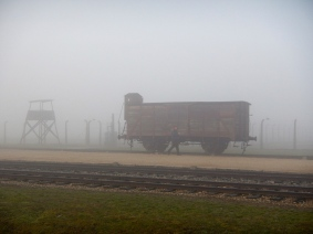 Transportation carriage sitting at the railway siding