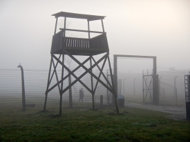 A lone guard station in the mist