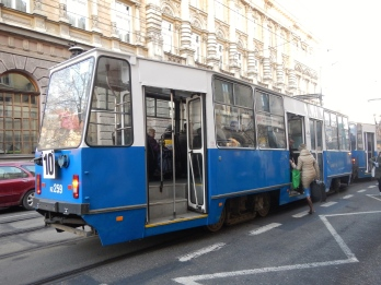 Blue and white trams - Krakow's city colours