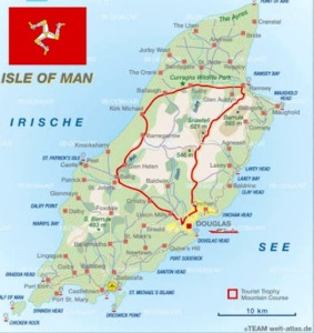 The TT course highlighted in red