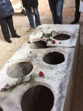 Roses left by Jewish student group