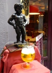 Mannekin Pis outside a restaurant