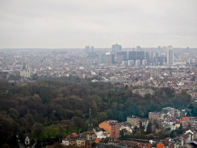 View of Brussels from the Aromium - a little foggy due to the rain