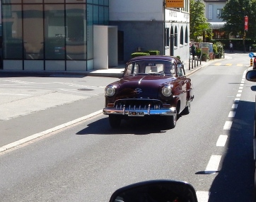 A mid 50's Opel Olympia Rekord cruising the streets