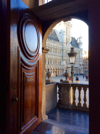 Beautiful wooden door and view of market square