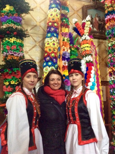 Kasia our tour leader and 2 lasses in Kurpie traditional dress