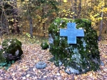 Memorial to Polish sappers who cleared land mines - see mines on the ground and on rock
