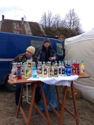 "Two ""local characters' selling their vodka"